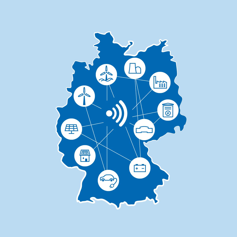Deutschlandweite Vernetzung: Mit Smart Grids können alle Akteure im Stromnetz miteinander kommunizieren. Mit Hilfe einer Deutschlandkarte wird dies verdeutlicht.